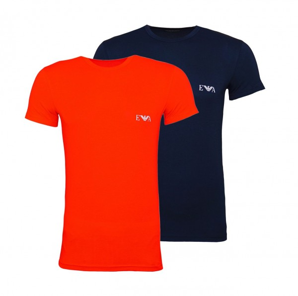 Emporio Armani 2er Pack T-Shirts Rundhals 111670 9P715 09674 ROSSO/MARINE W19-EA2