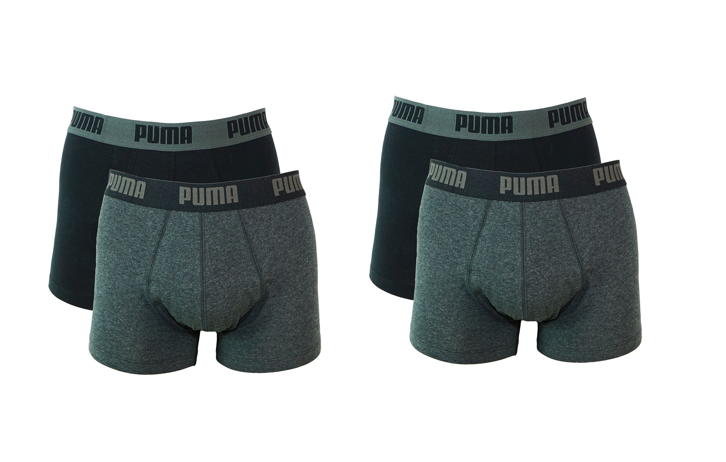 PUMA Shorts Unterhosen 2 x 2er Pack Trunk 521025001 691 020 dark grey melange, black SF17-PMS2