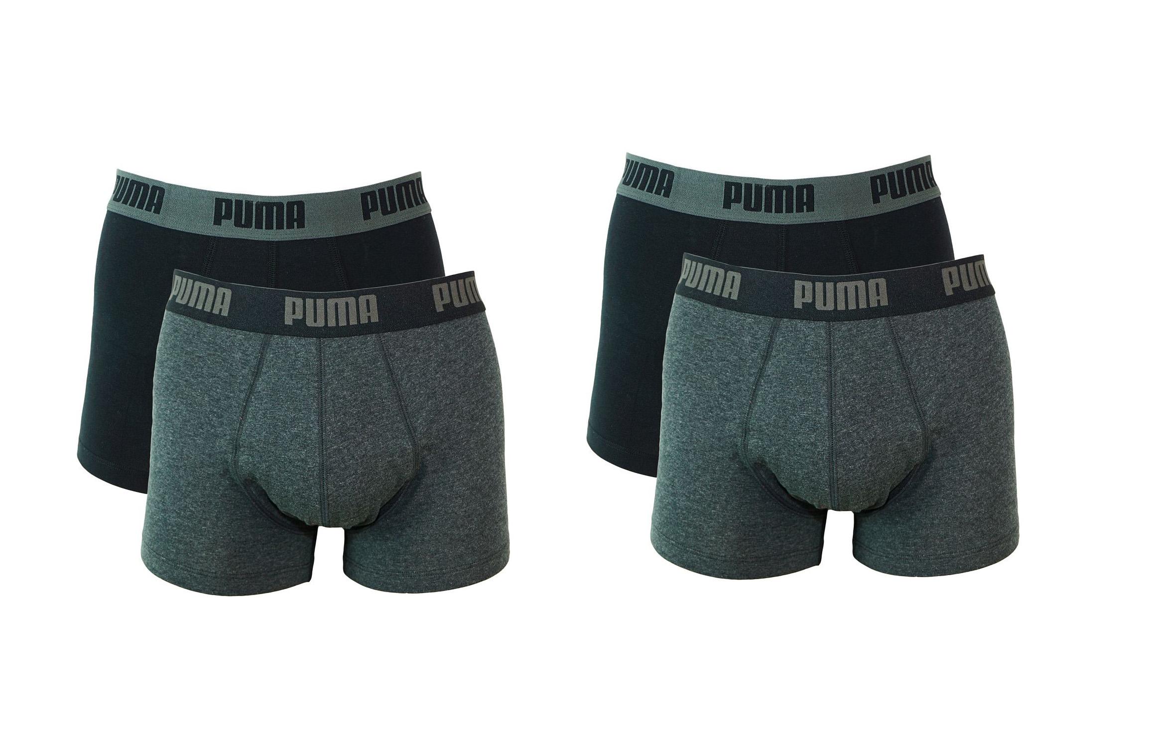 PUMA Shorts Unterhosen 2 x 2er Pack Trunk 521025001 691 020 dark grey melange, black SF17-PMS2