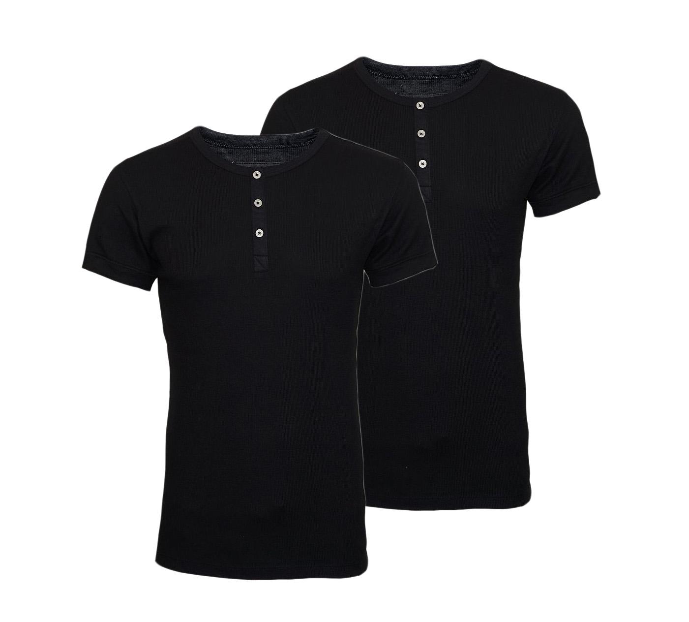 LEVIS Shirts 2er Pack T-Shirt Henley Jet Black 961024001 884 020 SF17-LVSS2