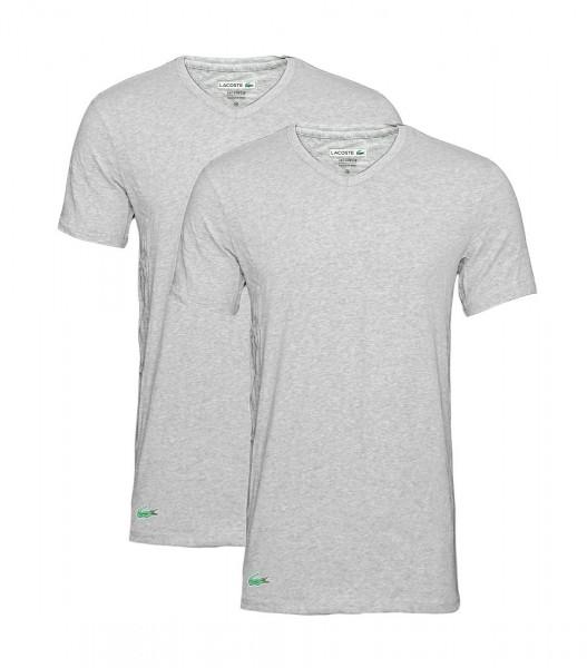Lacoste 2er Pack T-Shirts V-Ausschnitt 148322 grau mel heather mel