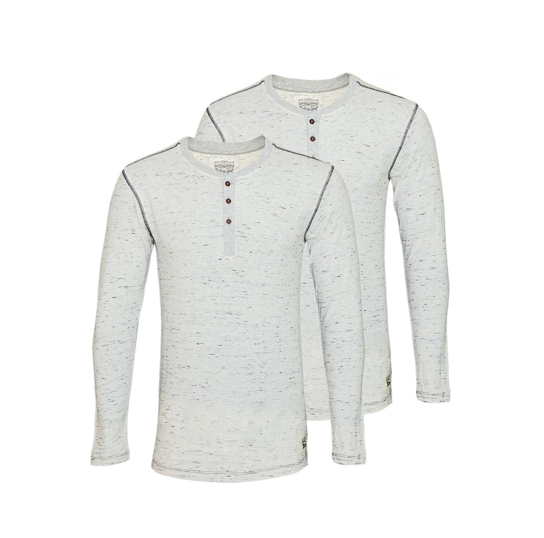 LEVIS Shirts 2er Pack Henley Longsleeve 972002001 032 Grey Melange SF17-LVLV2