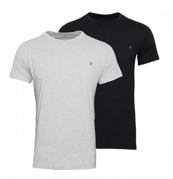 Replay 2er Pack T-Shirts Regular Fit M3588 22602 060 GREY MELANGE-BLACK WJ19-RPS1