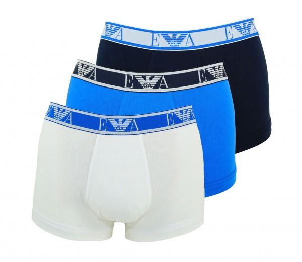 Emporio Armani 3er Pack Trunks Shorts 111357 9P715 58110 BIANCO/MARINE/ONDA W19-EAT1