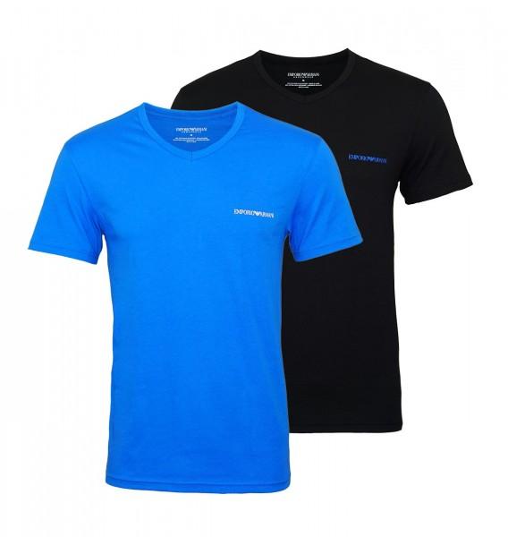 Emporio Armani 2er Pack T-Shirts V-Ausschnitt 111849 9P717 64420 NERO/ONDA W19-EA2