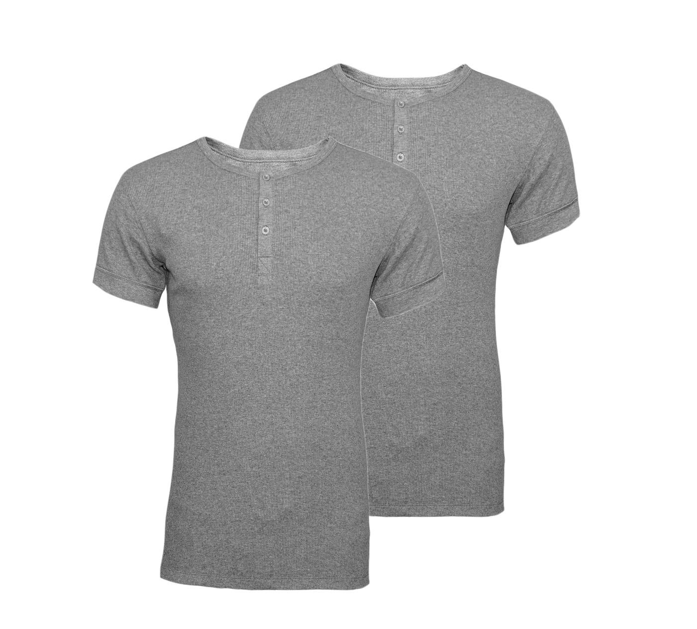 LEVIS Shirts 2er Pack T-Shirt Henley Middle Grey Melange 961024001 758 020 SF17-LVSS2