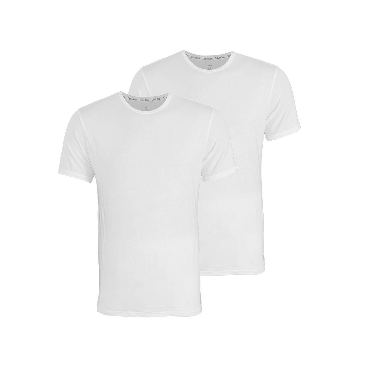 Calvin Klein 2er Pack T-Shirts Tee-Shirts CK16 Rundhals weiß