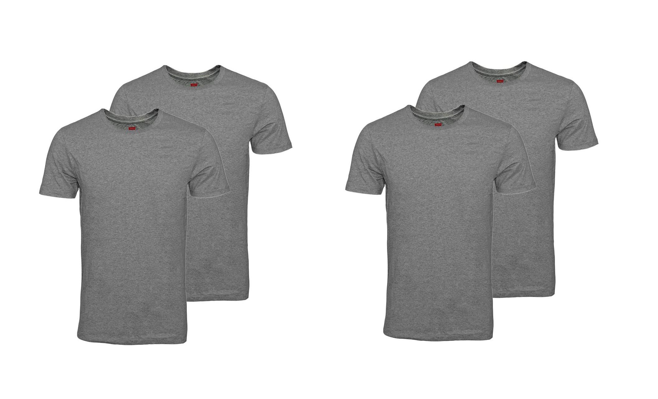 LEVIS Shirts 200SF 2 x 2er Pack T-Shirt Shirts Middle Grey Melange 945003001 758 SF17-LVSS2