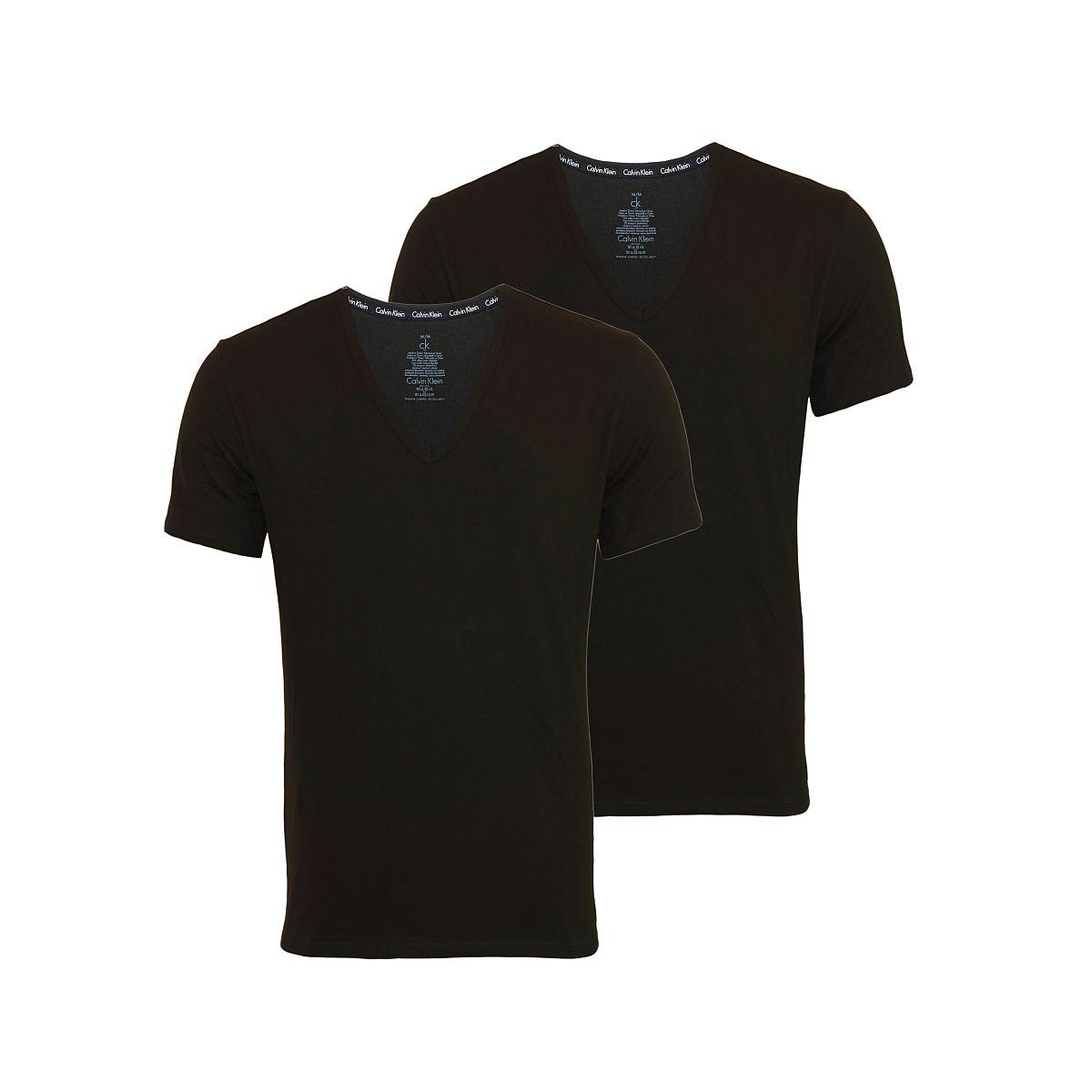 Calvin Klein 2er Pack T-Shirts Tee-Shirts CK16 V-Ausschnitt schwarz