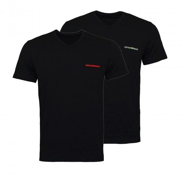 Emporio Armani 2er Pack T-Shirts V-Ausschnitt 111849 9P717 23820 black WF19-EAT5