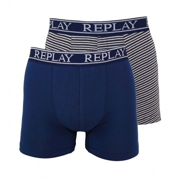 Replay 2er Pack Boxer Shorts Unterhosen I101007 N144 navy WF19-RPT1