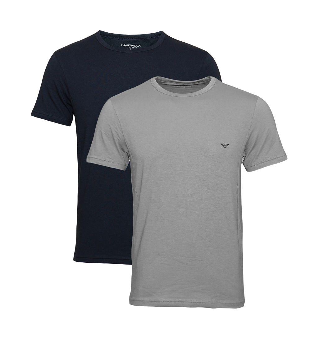 Emporio Armani Shirts 2er Pack T-Shirts 111267 CC717 13742 GRIGIO/MARINE