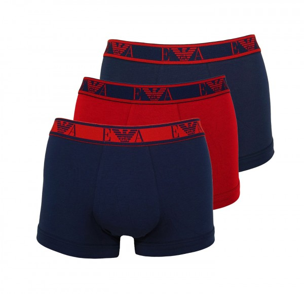 Emporio Armani 3er Pack Trunk Shorts 111357 0A715 70535 Navy, Dark Red HW20-AT1