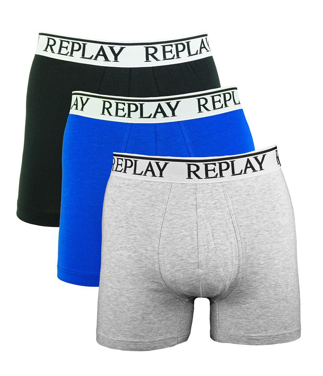 Replay 3er Pack Shorts Boxershorts M605001 E56 schwarz, blau, grau W18-RY1