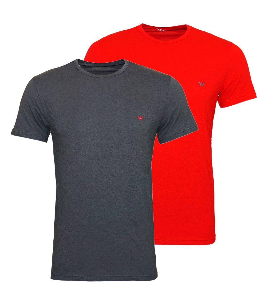 Emporio Armani 2er Pack T-Shirt Rundhals 111267 8A722 21544 ANTRACITE/RUBINO WX18-EAT