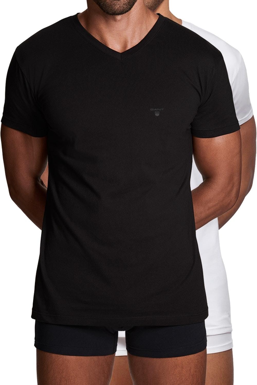 Gant 2er Pack Basic T-Shirts mit V-Ausschnitt 2118 BLACK / WHITE SH18-GT1