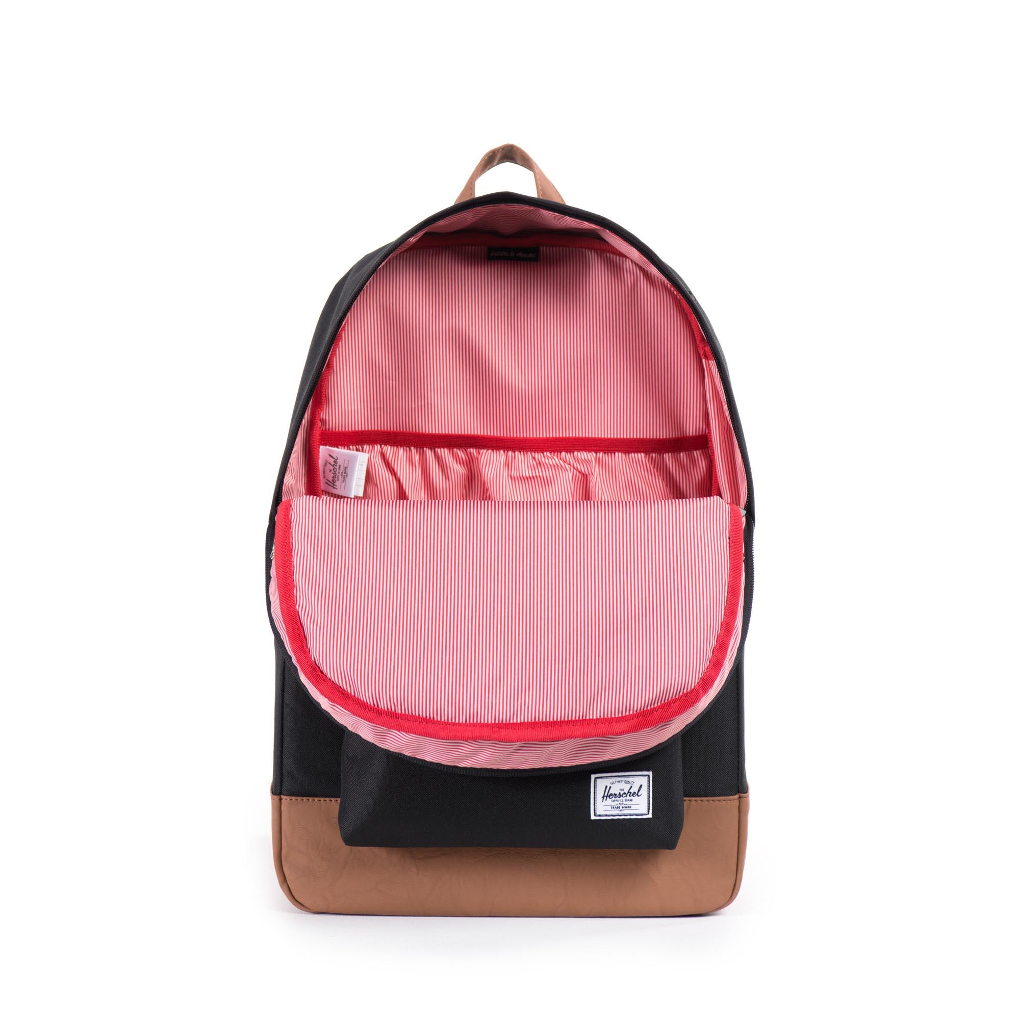 Herschel Rucksack Heritage Backpack Black/Tan Synthetic Leather 10007-00055 F18-HT1