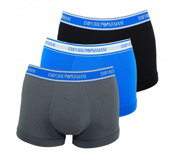 Emporio Armani 3er Pack Trunks Shorts 111357 9P717 22844 ANTRACITE/NERO/ONDA W19-EAT1