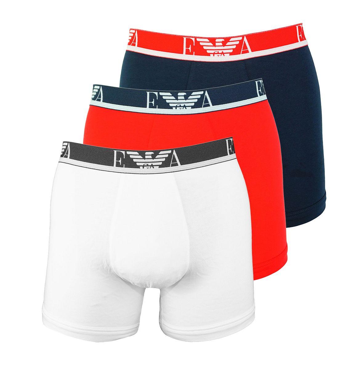 Emporio Armani 3er Pack Shorts Boxer Unterhose 111473 8P715 50710 BIANCO/MAR/TANGO RED W18-EABZ1
