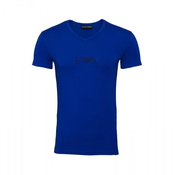 Emporio Armani T-Shirt V-Ausschnitt V-Neck 110810 9A715 26433 blau SS19-EAT1