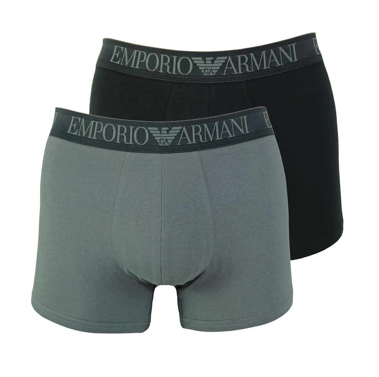 Emporio Armani 2er Pack Trunk Shorts 111769 8P720 41720 NERO/ANTRACITE F18-EAT1