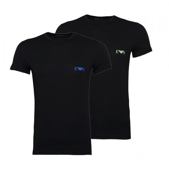 Emporio Armani 2er Pack T-Shirts Rundhals 111670 9P715 17020 NERO/NERO W19-EA2