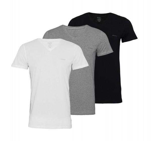 Diesel 3er Pack T-Shirts Michael V-Neck OJAQX E3843 schwarz, grau, weiss SS19-DS1
