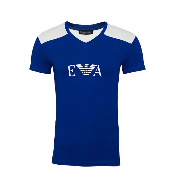 Emporio Armani T-Shirt V-Neck 111815 9P529 15834 blau FS19-EAT1