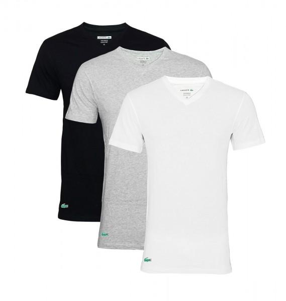 Lacoste 3er Pack T-Shirt V 150999 901 V-Ausschnitt schwarz, grau, weiß
