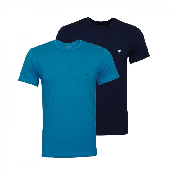 Emporio Armani 2er Pack T-Shirt Crew Neck 111267 0P722 66035 navy, green WF20-EA1