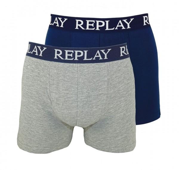 Replay 2er Pack Boxer Shorts Unterhosen I101005-V001 N139 navy, grey WF19-RPT1
