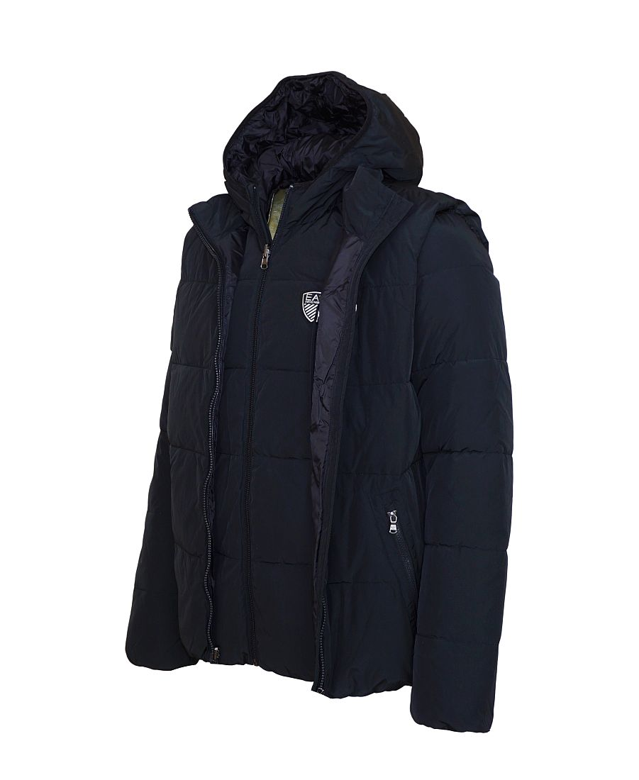 EA7 Emporio Armani Jacke Daunenjacke mit Weste schwarz 6XPB09 PN03Z 1200 Nero mit Kapuze HW16-EA3