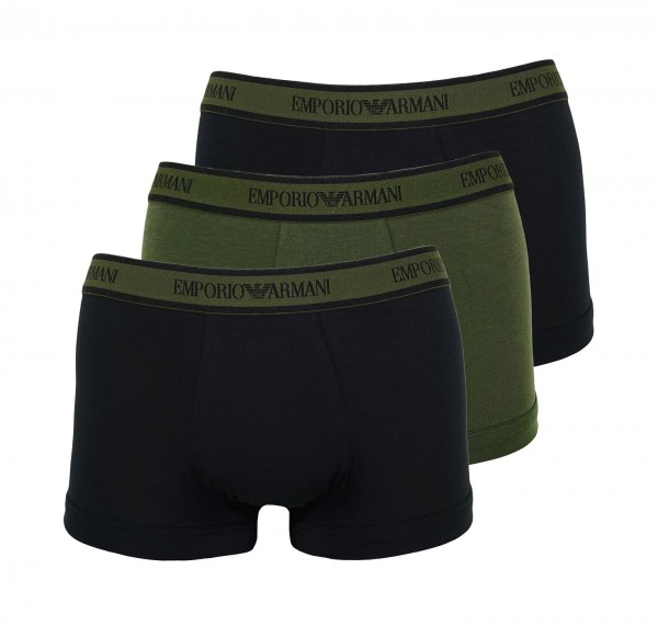 Emporio Armani 3er Pack Trunk Shorts 111357 0A717 91420 Black, Dark Green HW20-AT1