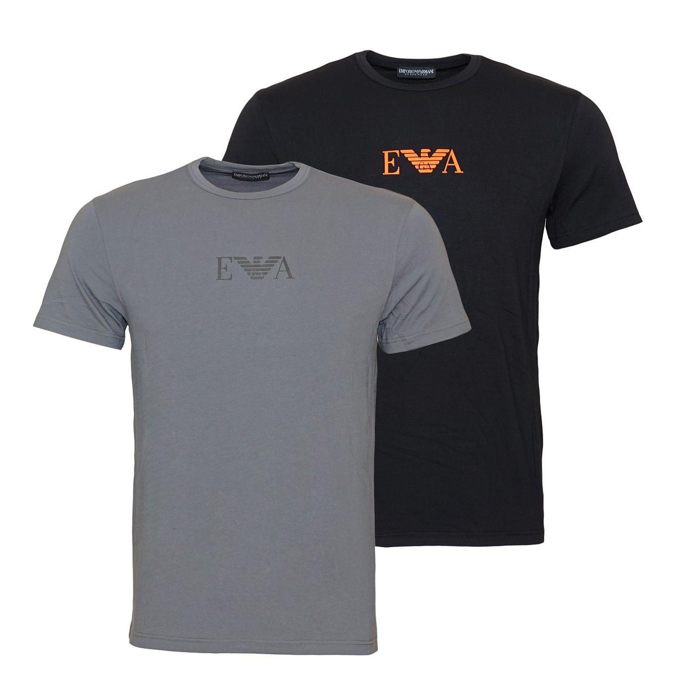 Emporio Armani 2er Pack T-Shirts Rundhals 111267 8A715 41720 NERO/ANTRACITE SH18-EAT1