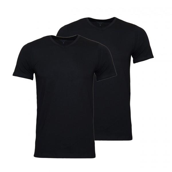 Marc O`Polo 2er Pack T-Shirts Basic Shirts V-Ausschnitt 149804 000 schwarz WJ19-MPT1
