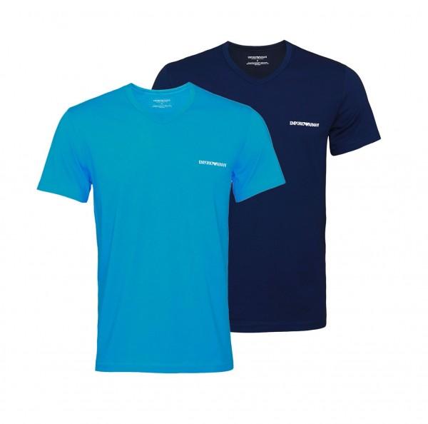 Emporio Armani 2er Pack T-Shirt V-Neck 111849 0P717 67035 navy, blue WF20-EA1