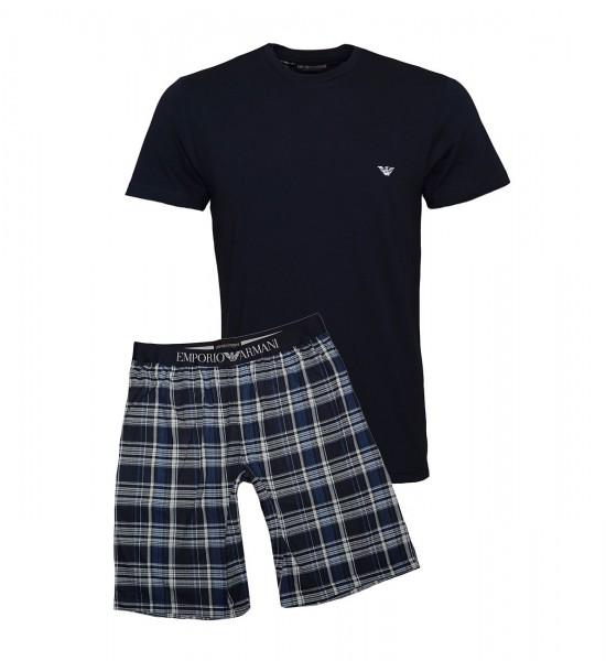 Emporio Armani Pyjama Shirt + Hose kurz 111360 9P567 57735 SCOZZESE MARINE SS19-EAL1
