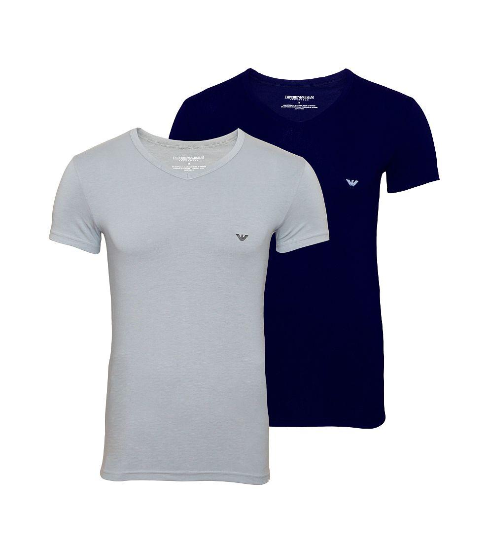 EMPORIO ARMANI 2er Pack Shirts T-Shirts V-Ausschnitt grau navy 111512 CC717 13742