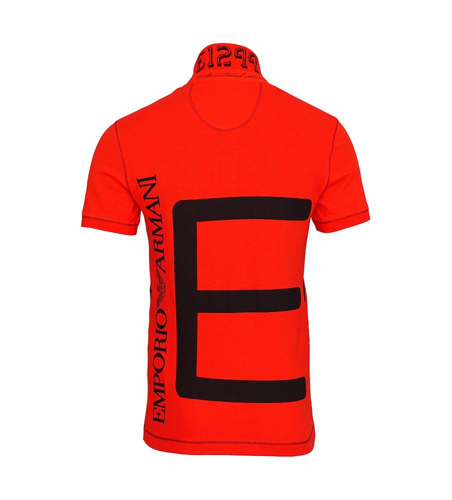 EA7 EMPORIO ARMANI Shirt T-Shirt Poloshirt MAN'S KNIT POLO schwarz, rot 273937 6P283 00074