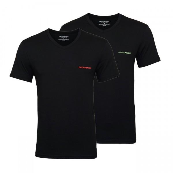Emporio Armani 2er Pack T-Shirts V-Ausschnitt 111849 9P717 23820 NERO/NERO W19-EA2